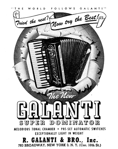 An ad for the Galanti accordion